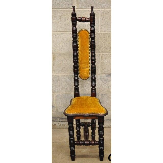 Vintage Spanish Jacobean Renaissance Revival Gothic Gold Hall Prayer Chair For Sale - Image 11 of 11