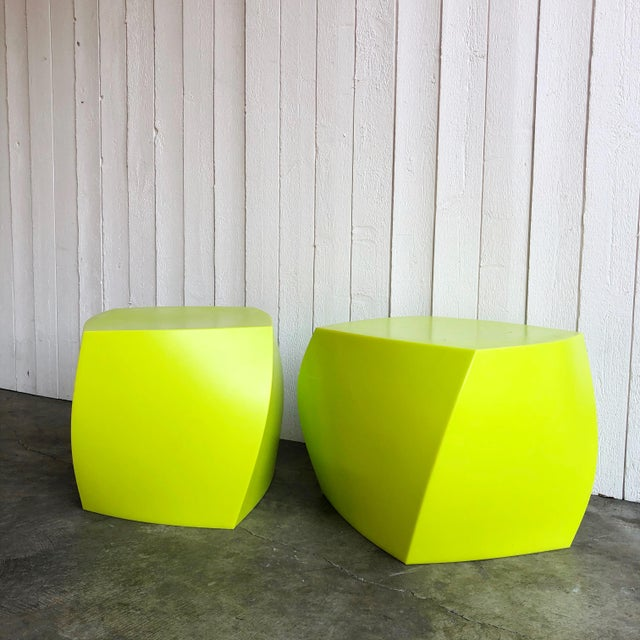 Set of colorful twist cubes by Frank Gehry for Heller Furniture in a bold shade of lime green. Great twist detailing and...