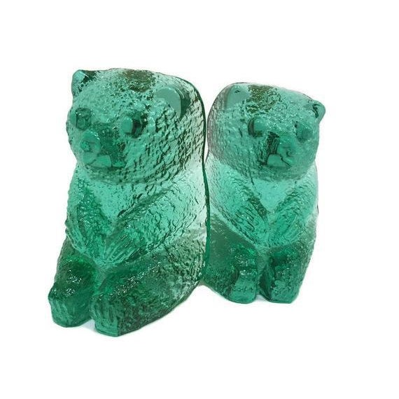 Glass Vintage Blenko Glass Mint Green Bear Sculptures/Bookends - a Pair For Sale - Image 7 of 12