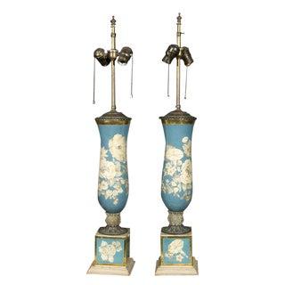 Pair of Églomisé Lamps For Sale