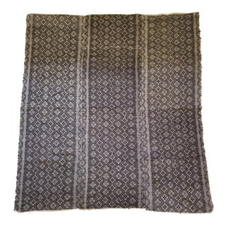 Hand Embroidered Black and Cream Tribal Wedding Quilt For Sale