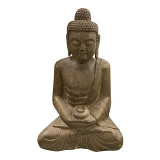 Vintage Solid Hand Carved Black Stone Buddha Statue For Sale