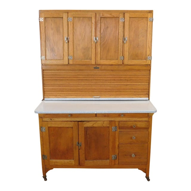 Antique Oak Sellers Indiana Hoosier Cabinet C1900 For Sale