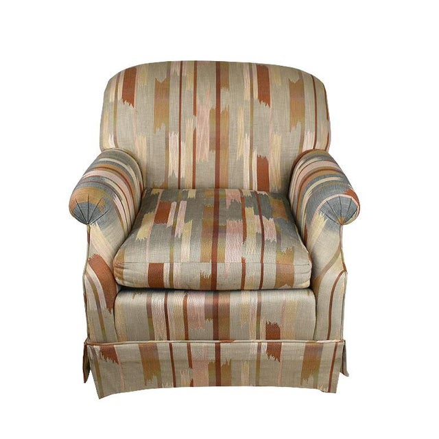 American Rolling Upholstered Southwest Ikat Armchair in Brown Cream and Blue by Baker Furniture Company For Sale - Image 3 of 13