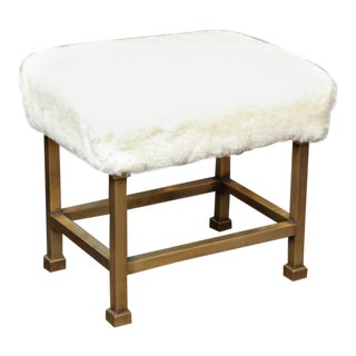 Pair of Custom Shearling and Brass Stools For Sale