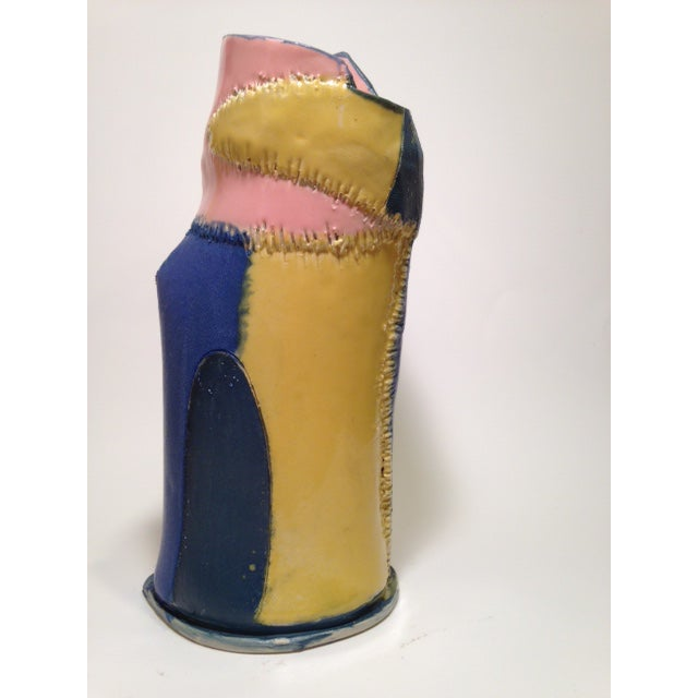 Abstract Handmade Yellow Pink and Blue Ceramic Vase by Marsha Plafkin For Sale - Image 3 of 6
