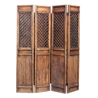 Four Panel Chinese Screen Room Divider For Sale