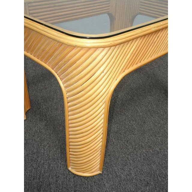 Vintage Mid Century Modern Split Bamboo Rattan Coffee End Table For Sale In Los Angeles - Image 6 of 11