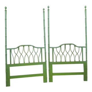 Vintage Boho Chic Green Bamboo/Turned Wood Twin Headboards - a Pair For Sale