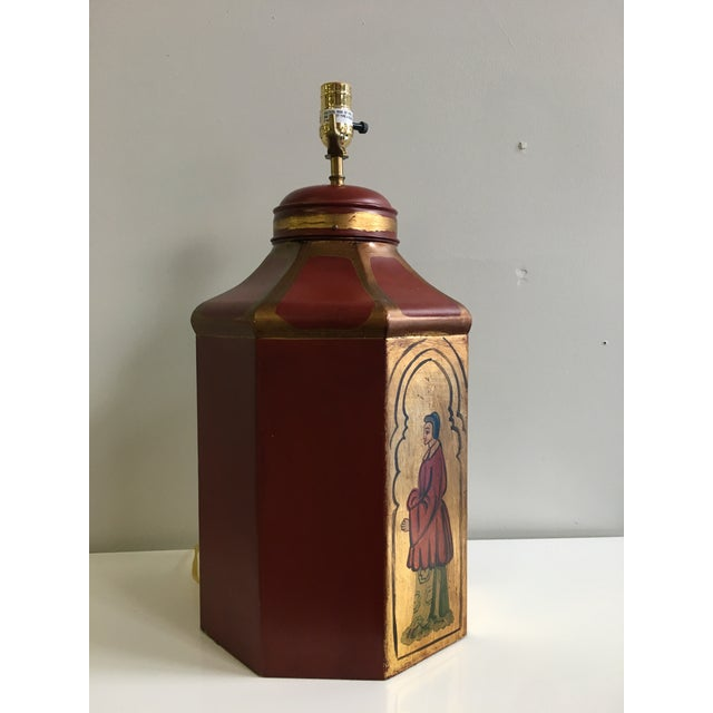 Vintage Tole Octogan Hand Painted Lamp - Image 3 of 11