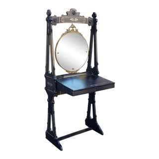 Unusual Antique Victorian Aesthetic Movement Black Standing Dressing Table Desk Vanity W/ Mirror C1890. For Sale