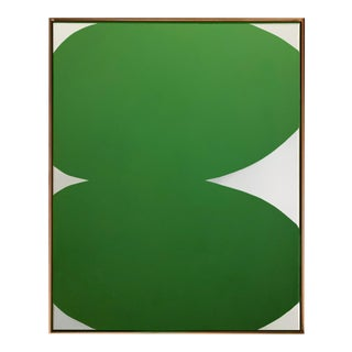 Original Green Hard Edge Abstract Painting by Brooks Burns For Sale