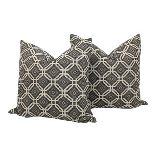 Charcoal Linen Blend Geometric Pillows, a Pair For Sale