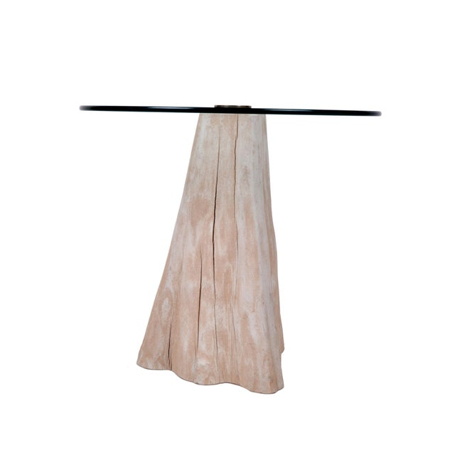 Round Mid-Century Modern Tree Stump Glass Side Table For Sale In Miami - Image 6 of 8