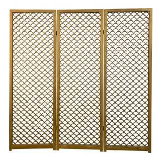 Tripart Fish Scale Room Divider Screen For Sale