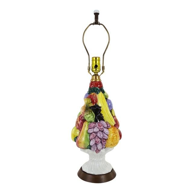 Italian Mid-Century Ceramic Fruit Basket Lamp For Sale