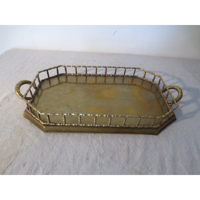60s Brass Serving Tray With Gallery - Image 2 of 7