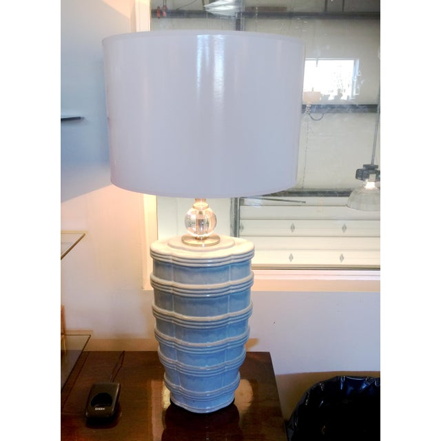 Contemporary Pair of Ribbed Soft Blue Lamp For Sale - Image 3 of 7