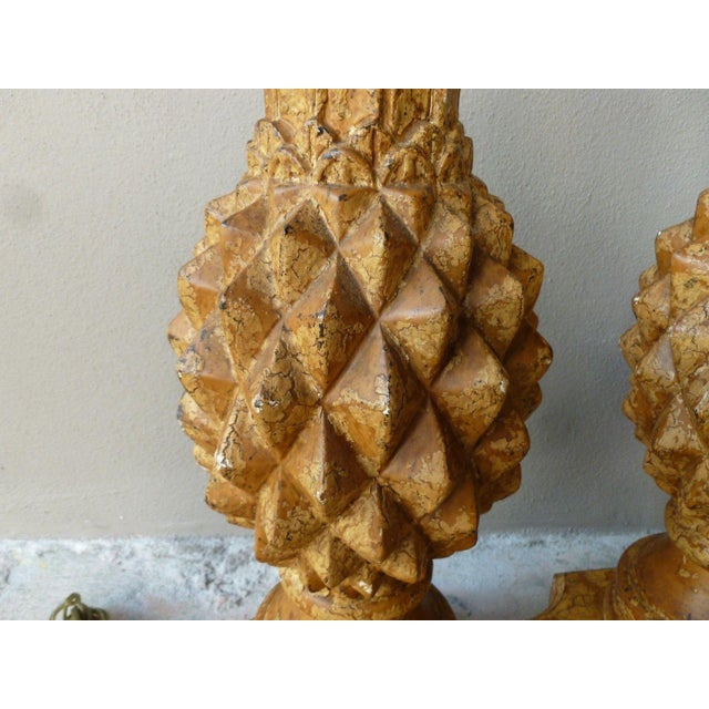 1970s Italian Haute Design Carved Wood Pineapple Lamps - a Pair For Sale - Image 4 of 9