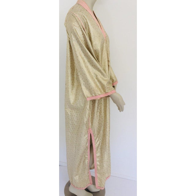 1970s Metallic Gold Moroccan Caftan, Kaftan Maxi Dress North Africa, Morocco For Sale - Image 9 of 13
