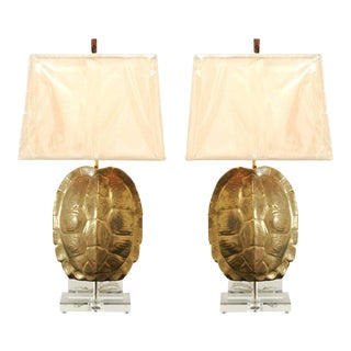 Outstanding Pair of Custom Faux-Tortoise Shell Ceramic Lamps with Lucite Accents For Sale