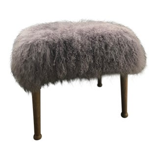 Anthropologie Mongolian Sheep Fur Stool For Sale
