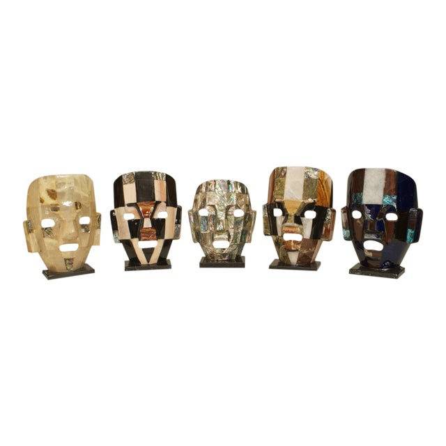 Five Mid-Century Aztec-Inspired Maks of Semi-Precious Stone For Sale