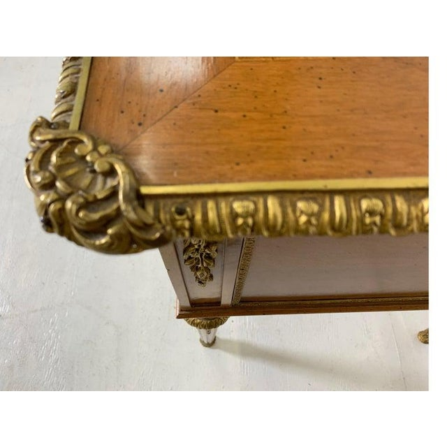French Style Mahogany and Satinwood Writing Desk With Ormolu For Sale - Image 11 of 13