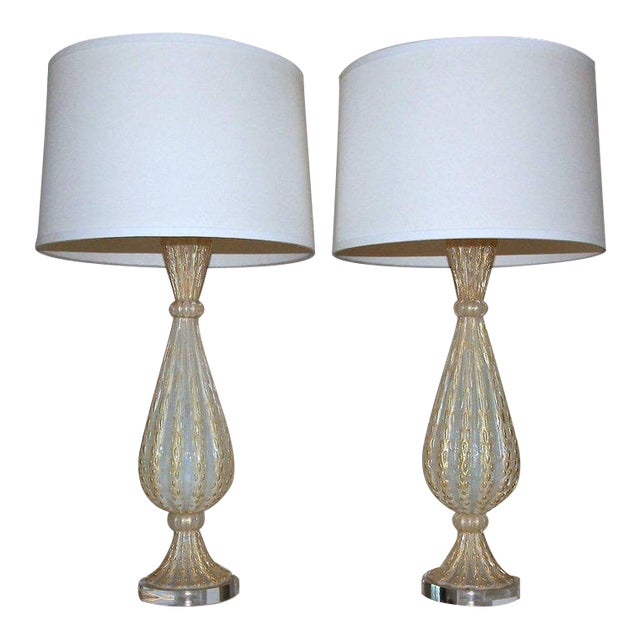 1950s Italian Arovier E Toso Gold Opalescent Murano Table Lamps - a Pair For Sale