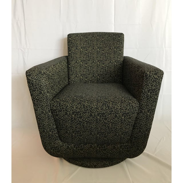 Textile Postmodern Vintage Swivel Upholstered Bucket Chair For Sale - Image 7 of 7