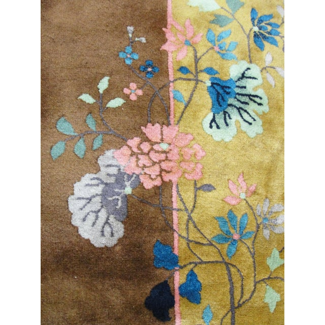 "Gold Chinese Art Deco Rug-5'10"" X 8'5"" For Sale - Image 8 of 9"