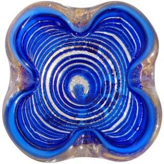 Barovier Toso Murano Sapphire Blue Swirl Gold Flecks Italian Art Glass Bowl Dish For Sale