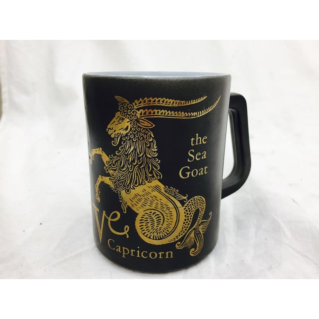 Vintage Black & Gold Zodiac Coffee Cup Mug For Sale In Raleigh - Image 6 of 11