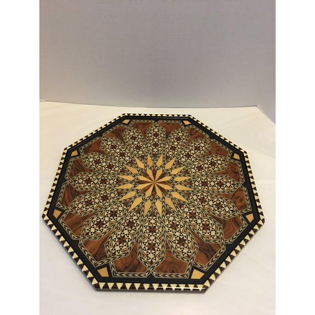 Vintage Laguna Ocatgon Marquetry Inlaid Tray Granada Spain For Sale In Detroit - Image 6 of 9