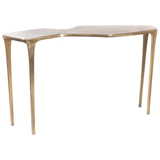 Cosmos Console Table in Cream Shagreen & Bronze-Patina Brass by R&y Augousti For Sale