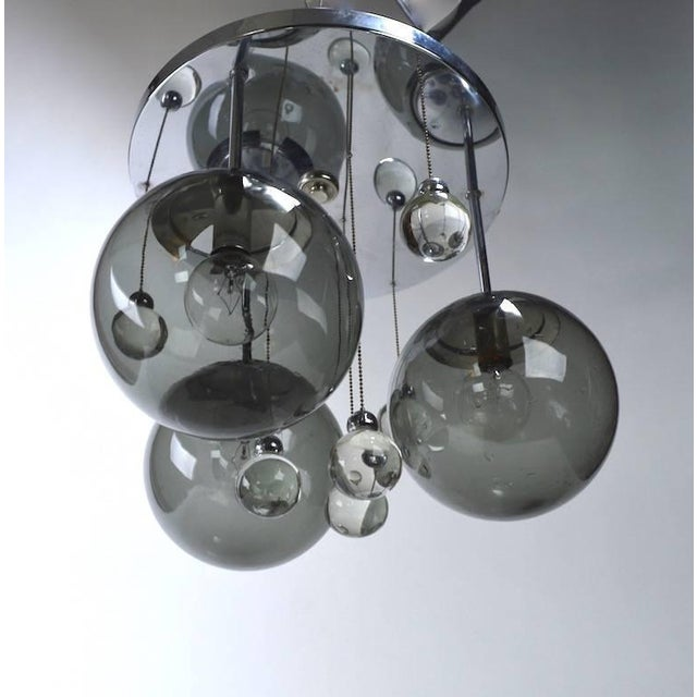 Mid 20th Century Chrome Lightolier Flush Mount Bubble Chandelier For Sale - Image 5 of 8