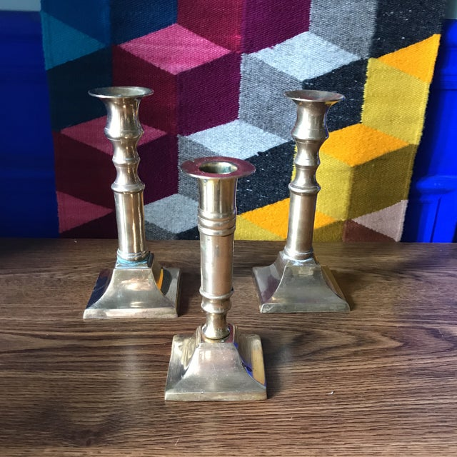 Vintage Brass Candlesticks - Set of 3 For Sale - Image 5 of 5