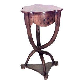 1940s Italian Burl Scalloped Walnut End Table For Sale