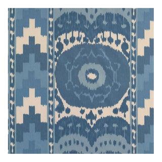 Sample, Schumacher Samarkand Ikat Ii Fabric in Porcelain For Sale