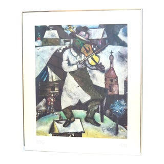 Early 20th Century Antique Marc Chagall Stedelijksmuseum Green Violinist Ltd. Poster Print For Sale