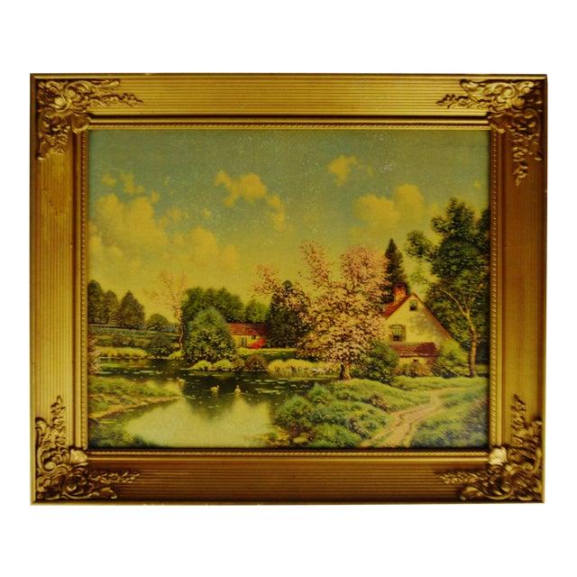 Vintage Gilt Framed Landscape Print on Textured Board For Sale