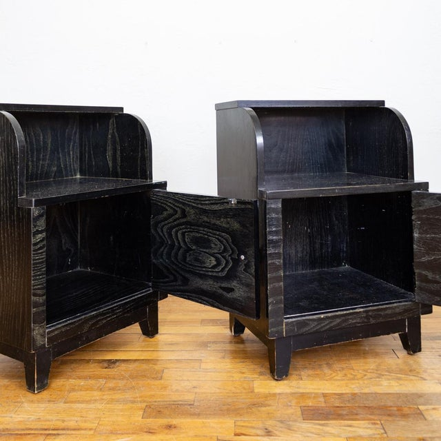 Art Deco Mid Century Nightstands | Black and Brass | Huntley Furniture For Sale - Image 3 of 13