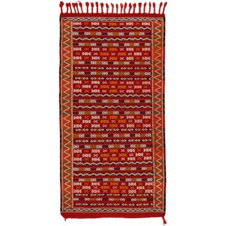 1950s Vintage Tunisian Petite Embroidered Rug - 2′4″ × 4′7″ For Sale