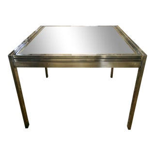 Mid-Century Modern Expandable Brass With Sliding Glass Top Table For Sale