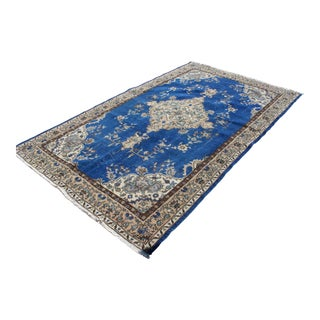 Blue Color Overdyed Turkish Handmade Area Rug - 5′4″ × 1″ For Sale