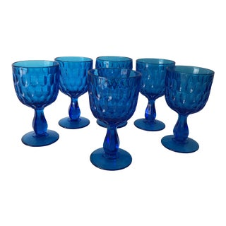 Midcentury Thumbprint Blue Fenton Water Goblets/Wine Glasses S/6 For Sale