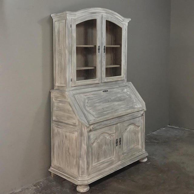 This Rustic Antique Country French Whitewashed Secretary ~ Bookcase features clean lines with subtle design flair that...