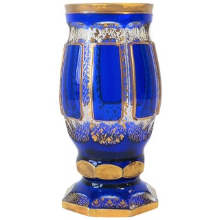 Czech Blue and Gold Bohemian Crystal Vessel, Circa Early 20th Century For Sale