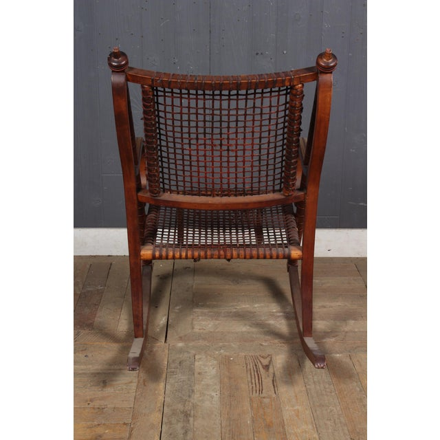 George Hunzinger Hunzinger-Style Carved Wood and Woven Fabric Rocking Chair For Sale - Image 4 of 6
