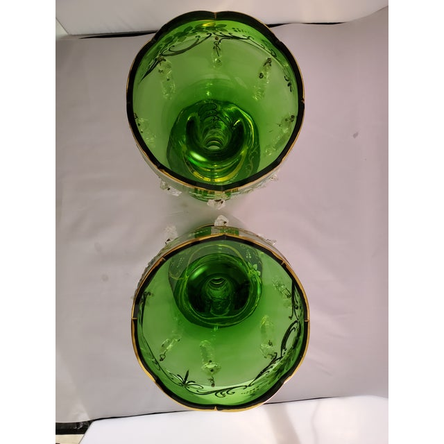 Green Vintage Green Glass Painted Luster Candle Holders With Prisms - a Pair For Sale - Image 8 of 11